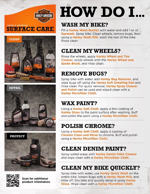 Surface care instructions available at American Harley-Davidson