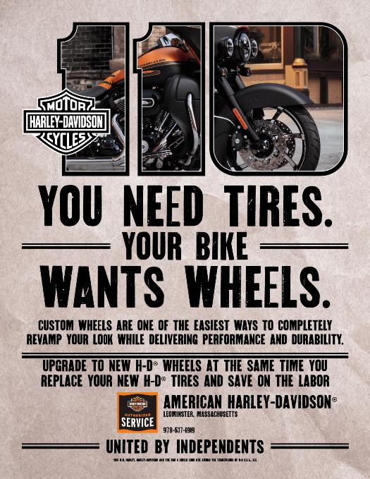 Upgrade your H-D wheels at the same time you replace your new H-D tires at American Harley-Davidson